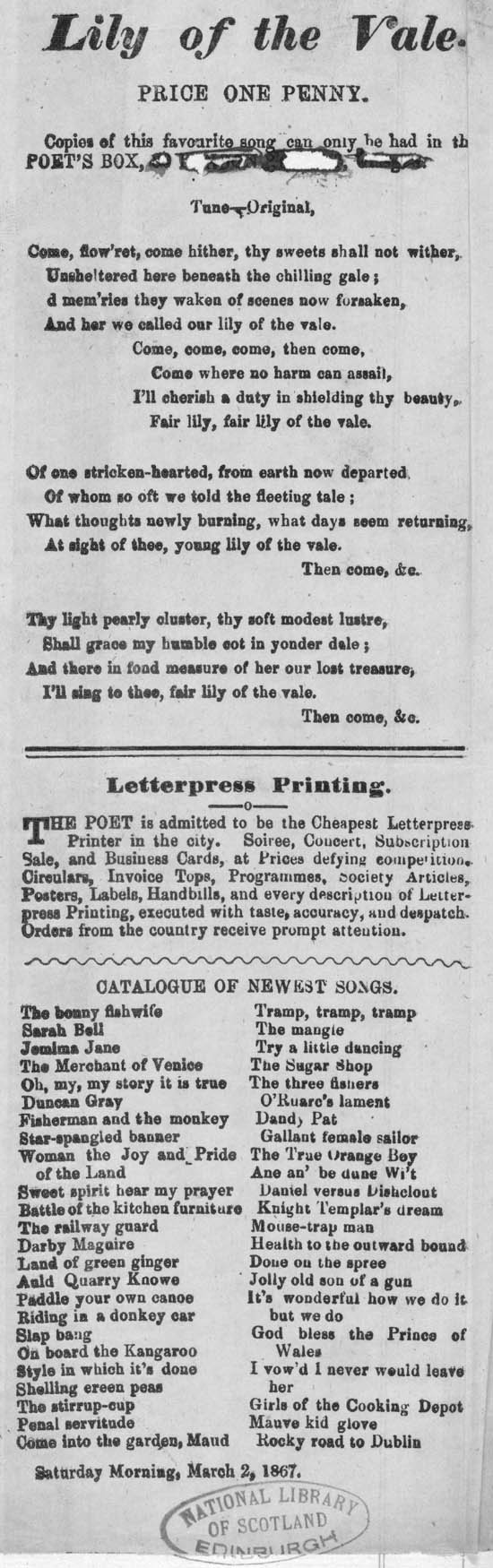 """An 1867 broadside of """"Lily of the Vale"""", sung by the Workhouse children in Rostellan (National Library of ScotlandL.C.1269(166b) )"""