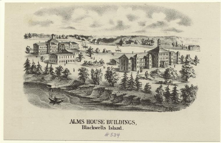 The New York Alms House Buildings on Blackwell's Island (New York Public Library Record ID 706081)