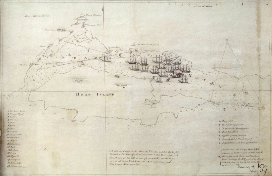 The early nineteenth century map of Bere Island and Berehaven with the British fleet