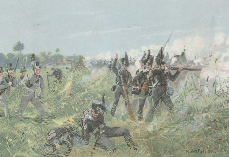 Brunswick Infantry in Action at Quatre Bras, 1815 by Richard Knötel
