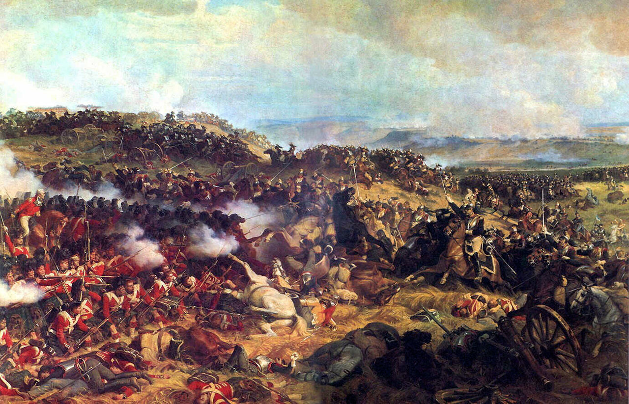 A British square defends against French cavalry at Waterloo (Wikipedia)