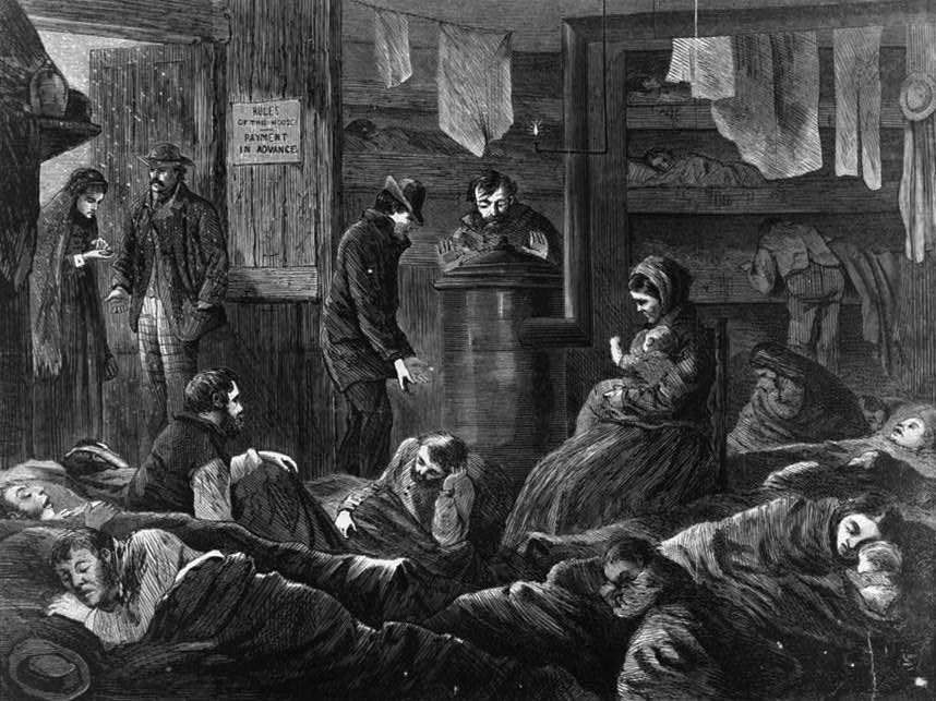 Underground lodgings for the poor of New York around 1869. Many people who ultimately ended up in Poor Houses would have been familiar with such scenes (Library of Congress)