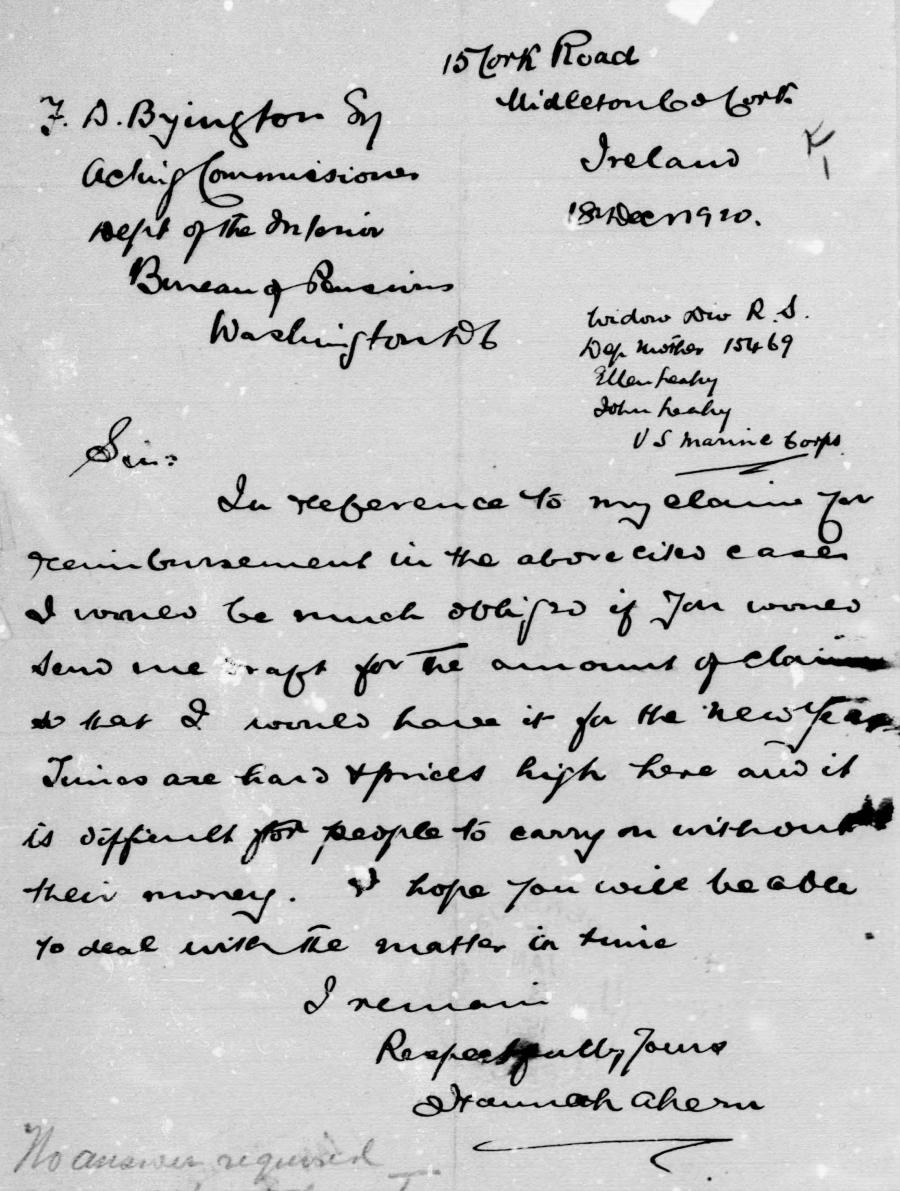 Hannah Letter 1920