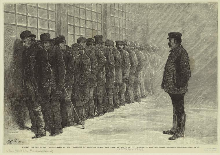 Inmates of the Poor House on Randall's Island, East River, New York, forming in line for dinner, 1875 (New York Public Library Record ID 692408)